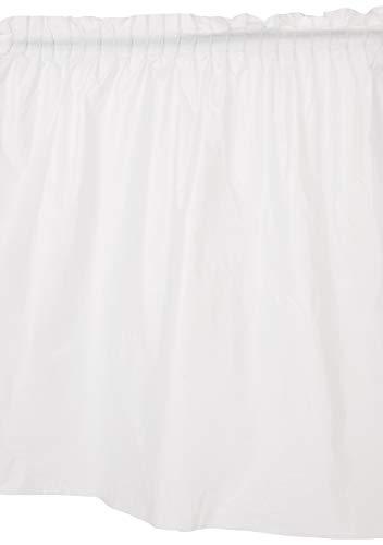 Unique Party- Falda de mesa de plástico, Color blanco, 420 cm (50046) ⭐
