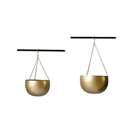 PLANTERS Bowl Shape Metal Hanging Planter for Balcony Home and Office Decoration (Golden, Large)