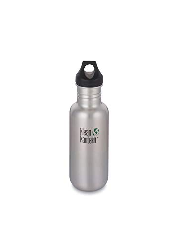 Klean Kanteen Classic Stainless Steel Water Bottle Single Wall and Leak Proof Loop Cap, Brushed Stainless, 18oz
