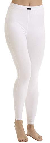 PLEAS dames thermische onderbroek lang, thermische broek skibroek voor dames in wit