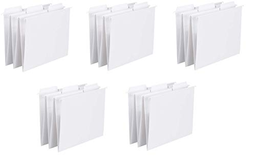 Smead FasTab Hanging File Folder, 1/3-Cut Built-in Tab, Letter Size, White, 20 per Box, 5 Box Total, 100 Folders Total
