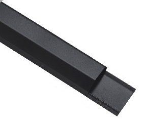 Alu Kabelkanal 110cm Länge 5cm Breite Schwarz von HALTERUNGSPROFI