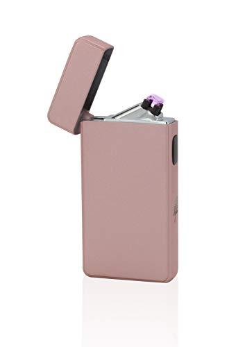 TESLA Lighter T13 Lichtbogen Feuerzeug, Plasma Double-Arc, elektronisch wiederaufladbar, aufladbar mit Strom per USB, ohne Gas und Benzin, mit Ladekabel, in Edler Geschenkverpackung, Roseé/Rosa