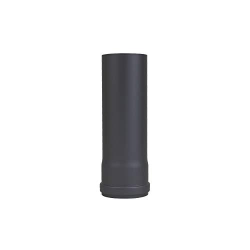 LANZZZAS pellepijp verlenging 250 mm, diameter DN Ø 80 mm, in zwart metallic en gietijzeren grijs, pellebuis, kachelpijp, rookpijp verlenging, voor uw pelletkachel modern zwart-metallic