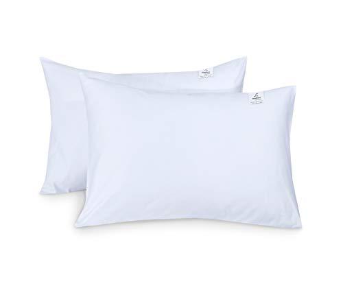 Almohadas de dormir suaves con relleno de fibra de algodón de poliéster para dormir de estómago, espalda y laterales (paquete de 2)
