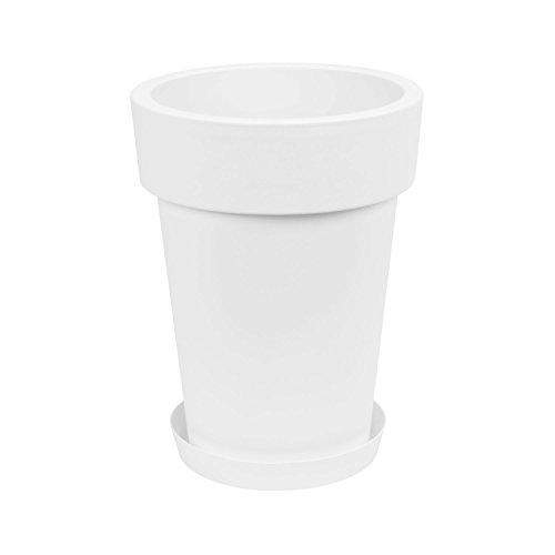 Prosperplast Maceta grande con plato Lofly Slim H de 40 cm, color blanco, de plástico redondo