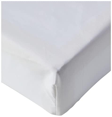 Amazon Basics Fitted Sheet, Baumwolle, Weiß, 180 x 200 x 30 cm