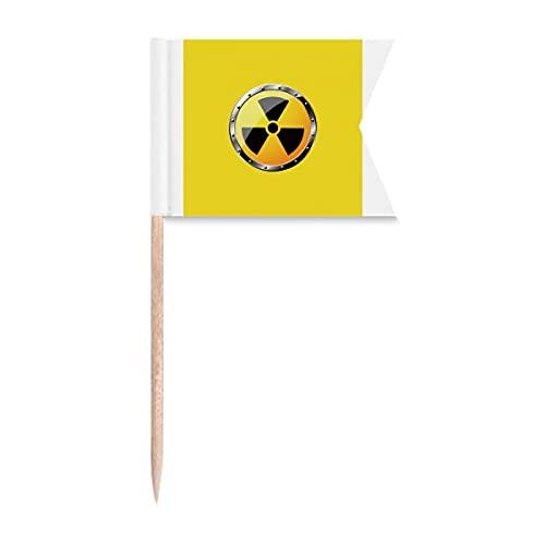 Logo Amarillo Fondo Sustancias Radiactivas Advertencia Palillo de Dientes Banderas Etiquetado para Fiesta Pastel Alimentos Queso