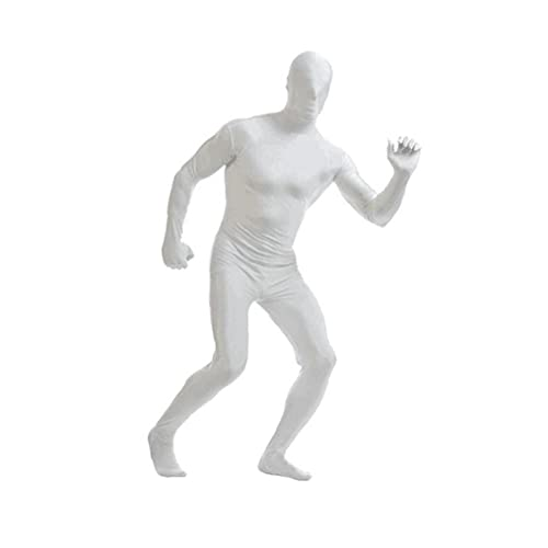 Body Transport Body Skin-Tight Spandex Traje Unisex Adulto Adulto Trajes de Cuerpo Completo Lycra Disfraz Fancy Vestido Halloween Mostrar Disfraces para Adultos y niños Blanco XXL