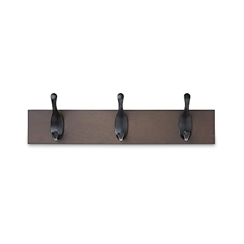 Amazon Basics - Perchero de madera de pared, 3 ganchos modernos 34 cm, Café