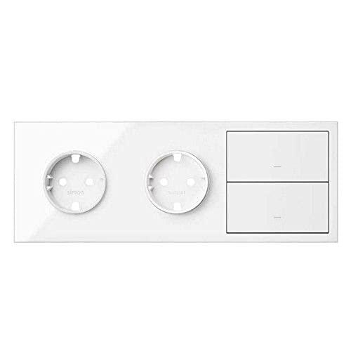 Kit front para 3 elementos con 2 bases enchufe Schuko y 2 teclas, serie 100, 4 x 22,6 x 8,4 centímetros, color blanco mate (referencia: 10020308-230)