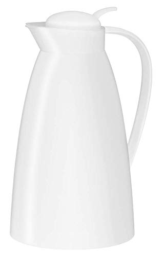 alfi Eco, Thermoskanne Kunststoff weiß 1l, mit alfiDur Glaseinsatz, 0825.010.100, Isolierkanne hält 12 Stunden heiß, ideal als Kaffeekanne oder Teekanne, Kanne für 8 Tassen