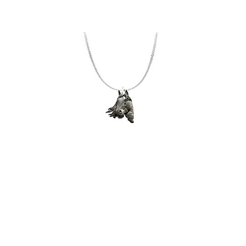 A1 - Collar de cadena de peltre inglés con diseño de cabeza de caballo (50,8 cm)