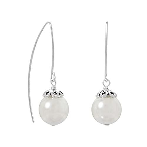 Pendientes de alambre de perlas de cristal de plata de ley 925, enhebrador curvado, 11,6 mm, regalo de joyería para mujeres