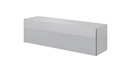 E-Com - TV Board hängend Wohnwand Hängeschrank Hängeboard FAY - 140 cm - Weiss/Grau