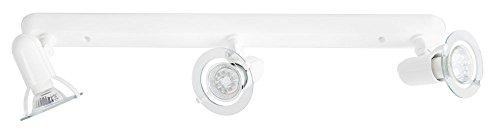 3-Strahler Deckenleuchte Deckenlampe Decke Lampe Leuchte weiß Sockel Briloner 2753/036P
