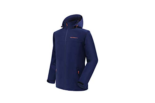 Acme Projects Chaqueta Softshell Forrada de vellón para Hombres con Capucha Desmontable, Impermeable, Transpirable, 8000 mm / 5000 g, Cremallera YKK