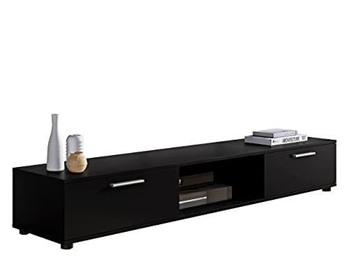 TV Lowboard Board Panezi, TV Schrank, Tisch, Fernsehtisch, Fernsehschrank TV-Bank (Schwarz)