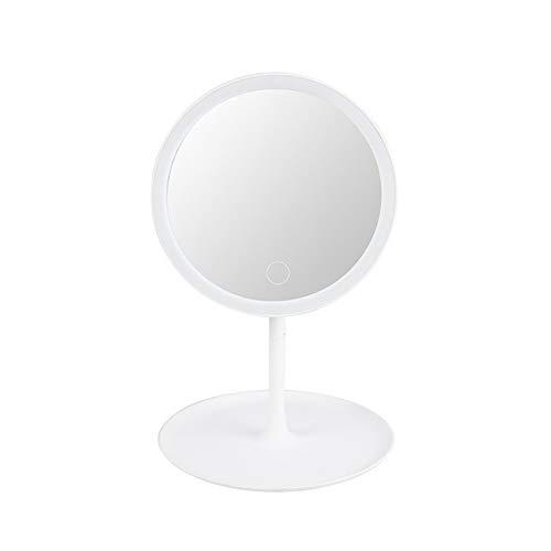 Tool House Miroir De Maquillage avec des Lumières Miroirs De Table Rechargeables Allumez Le Miroir pour Les Filles Miroirs De Rasage Écran Tactile Vanity Cosmetic Mirror,White