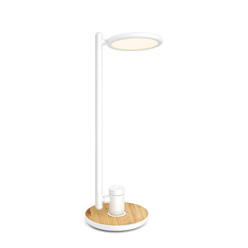 LED Desk Lamp with USB Charging Port, Gladle Eye-caring Dimmable DeskLight for Office Bedroom Living Room Dorm, Bright Reading Study TableLamp with Wood Grain,Touch Control, Memory, Adjustable Color