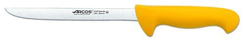 Arcos Serie 2900, Cuchillo Fileteador Flexible, Hoja de Acero Inoxidable Nitrum de 200 mm, Mango inyectado en Polipropileno Color Amarillo
