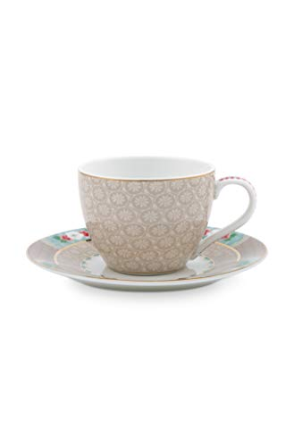Pip Studio - Espressotasse mit Untertasse - Blushing Birds - Porzellan - Khaki - 2-teilig