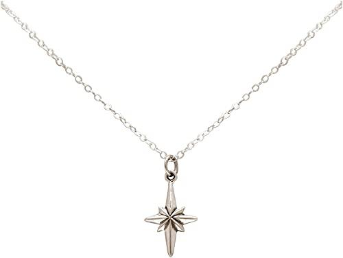 Gemshine Maritim Nautics Halskette mit Nordstern Polarstern aus 925 Silber, hochwertig vergoldet oder rose im Navy Stil - Qualitätvoller Schmuck Made in Spain, Metall Farbe:Silber