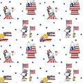 Snoopy Peanuts:Patriotic Peanuts White 45cmx54cm:スヌーピー ピーナッツ USAコットン