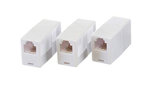 THE CIMPLE CO Telephone Cord Coupler Phone in Line Coupler - 4 Conductor (2) Telephone Lines - 3 Pack (White)