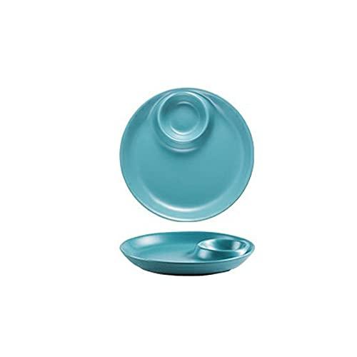 Lpiotyucp Vajilla Placas de Cena, Placa de Bola de Masa de cerámica con Salsa, Chips y Placa de Salsa, Salsa Japonesa, Plato de Salsa (Color : Blue)