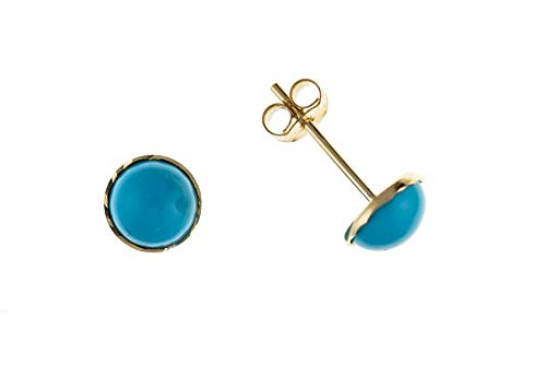 9ct Gold Real Turquoise Stud Earrings