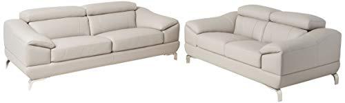 Cortesi Home Vegas Genuine Leather Sofa & Loveseat Set with Adjustable Headrests, Grey