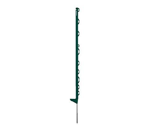horizont Weidezaunpfähle Kunststoff grün, Kunststoffpfähle 5 Stück Höhe 115 cm, mit 10 Ösen für Bänder, Seile, Litzen, mit Einzeltritt, Weidezaunpfahl Kunststoffpfahl Weidezaun Aufstellpfahl