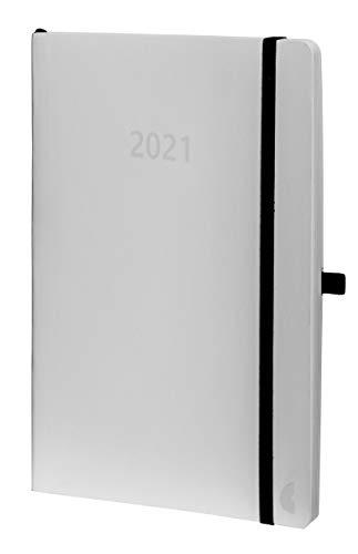 Chronoplan 50931 Buchkalender Kalendarium 2021, A5 Softcover, Wochenplaner (135x210mm, 1 Woche auf 2 Seiten), weiß