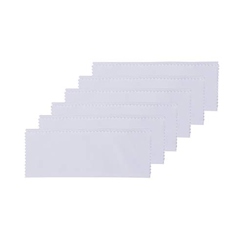 "Microfiber Cleaning Cloths – Perfect for Cleaning Eyeglasses, Camera Lenses, iPad, Tablets, Phones, iPhone, Android Phones, and Other Delicate Surfaces (White, 6"" x 7"" - Pack of 6)"