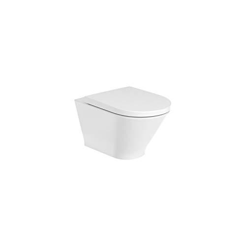 Taza suspendida serie Roca The Gap Round, rimless con fijaciones ocultas y salida horizontal, 35,5 x 54 x 44 centímetros, color blanco (Referencia: A3460NL000)