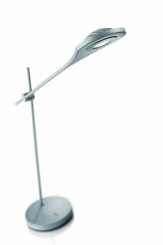 Philips Ledino 66702/87/16 Tischleuchte / 220-240V / 50-60Hz / grau / Aluminium / 1 x 7,5 W ( 3100K warm-weiss / Ein-/Ausschalter