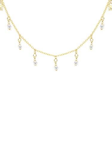 MyGold Zirkonia Halskette Goldkette Gelbgold 375 Gold (9 Karat) Mit Stein Chandelier Länge 45cm Damenkette Gala L-00979-G601-CZC-whi-AK10-K45cm