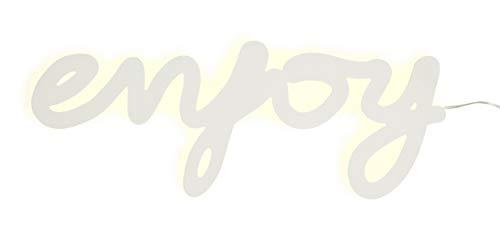 Madam Stoltz Wandleuchte enjoy Schriftzug LED weiß, 40x1,5x16 cm