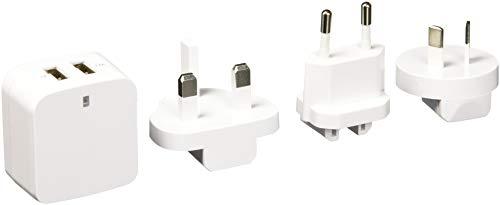 StarTech.com USB2PACWH - Cargador USB de Pared con 2 Puertos para Tablets/Smartphones, 110 V/220 V, Color Blanco