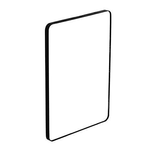 WERTYG Espejo De Pared Marco De Metal Esquina Redondeada, Espejos De Paneles De Vidrio Flotante, Cuelga Horizontal O Vertical Espejo de baño (Color : Black, Size : 90x70cm)