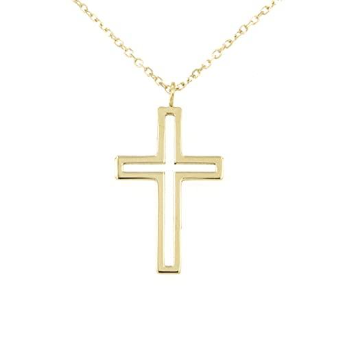 Lucchetta – Cruz estilizada de oro amarillo de 9 quilates con cadena de 45 cm reducida a 42, collar de oro para mujer – Fabricado en Italia – XS2228-FZ25