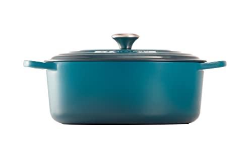 Le Creuset Evolution Cocotte de hierro fundido con tapa, Ovalada, 31 cm, 6,3 L, Azul Deep Teal,21178316422430