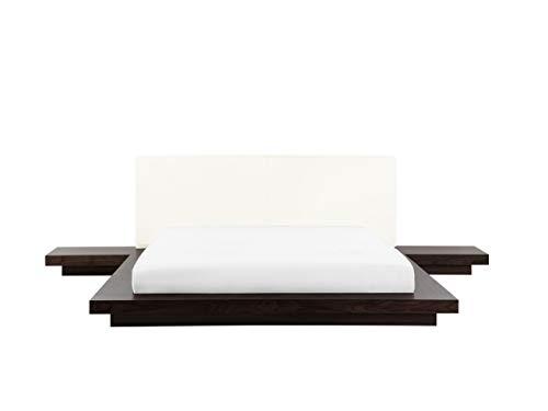 Lit design 180x200 cm - cadre avec chevets intégrés en bois - tête de lit en cuir - sommier inclus - Zen