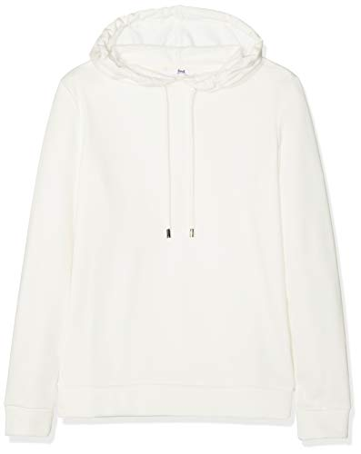 Amazon-Marke: find. Damen Kapuzenpullover Super Soft Brushed Back, Weiß (White), 36, Label: S