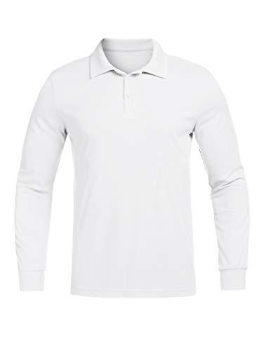 COOrun Golf Shirts for Men Lightweight Soft Polo Golf Shirt, Small White