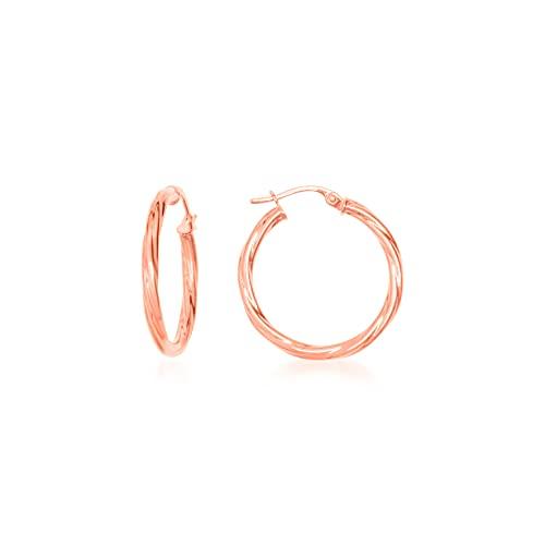 Pendientes de aro redondos de hilo trenzado, 24 mm/2 mm, oro rosa, 9 K (375) 1 g
