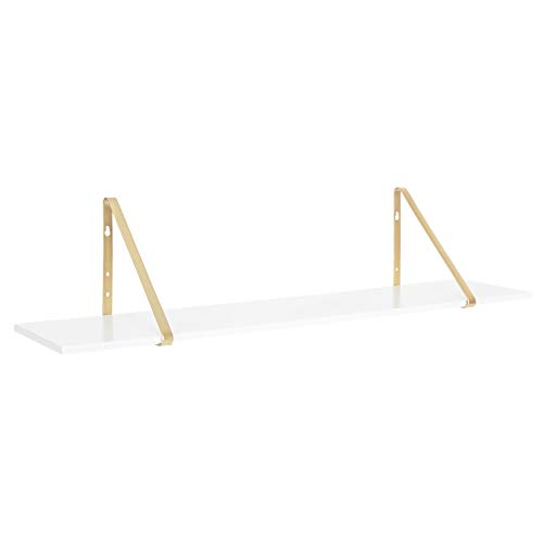 """Kate and Laurel Soloman Modern Floating Wall Shelf, 38"""", White and Gold, Contemporary Glam Wall Storage and Home Decor"""
