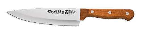 Natural Quttin - Coltello ecologico da cucina professionale, 16 cm, con manico in legno naturale