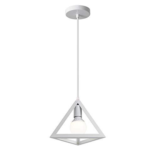 iDEGU - Lampadario a sospensione vintage industriale, in metallo, design geometrico E27, lampada a sospensione triangolare, 25 cm bianco